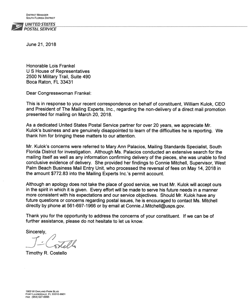 letter from USPS apology